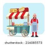 hot dog street cart with sale... | Shutterstock .eps vector #216085573
