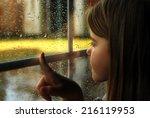 Girl And Rain Wet Glass Autumn...