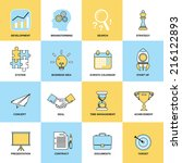 business icons flat line set of ... | Shutterstock .eps vector #216122893