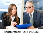 people at work during a... | Shutterstock . vector #216140233