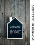 house shaped chalkboard sign on ...   Shutterstock . vector #216162697