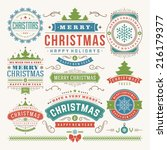 christmas decoration vector... | Shutterstock .eps vector #216179377