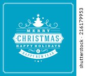 christmas retro typography and... | Shutterstock .eps vector #216179953