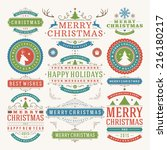 christmas decoration vector... | Shutterstock .eps vector #216180217