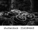 lot of wheel tires of... | Shutterstock . vector #216184663
