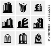 building vector icons set on... | Shutterstock .eps vector #216213283