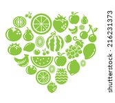 fruits icons in heart shape | Shutterstock .eps vector #216231373