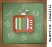 tv concept design on blackboard ... | Shutterstock .eps vector #216238813