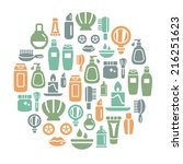beauty and cosmetic icons in... | Shutterstock .eps vector #216251623