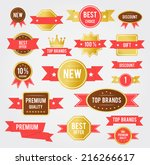 sale tags. old retro vintage... | Shutterstock . vector #216266617