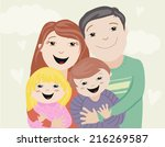illustration of a happy family | Shutterstock .eps vector #216269587