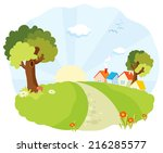 cartoon landscape with little... | Shutterstock .eps vector #216285577