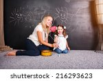 family  child and happiness... | Shutterstock . vector #216293623
