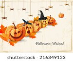 halloween greeting card with... | Shutterstock .eps vector #216349123