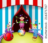 funny clowns at the circus... | Shutterstock .eps vector #216371767
