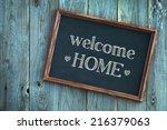 wooden vintage frame welcome...   Shutterstock . vector #216379063