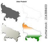 Uttar Pradesh blank detailed outline map set - vector version