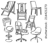 chairs collection | Shutterstock .eps vector #216421273