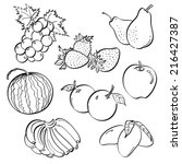 fruit set | Shutterstock .eps vector #216427387