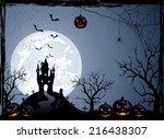halloween night background with ... | Shutterstock .eps vector #216438307