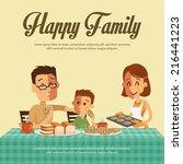 happy family | Shutterstock .eps vector #216441223