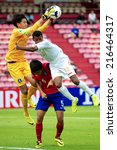 Small photo of NONTHABURI THAILAND-SEPTEMBER 06:Goalkeeper Ahn Joonsoo (L) of Korea Republic in action during the AFC U-16 Championship between Korea Republic and Oman at Muangthong Stadium on Sep 06, 2014,Thailand