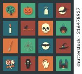halloween flat icons set  | Shutterstock . vector #216478927