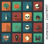 halloween flat icons set  | Shutterstock . vector #216478957