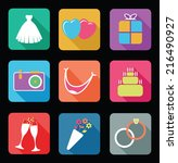 set of wedding icons | Shutterstock .eps vector #216490927