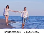 happy young romantic couple in... | Shutterstock . vector #216503257