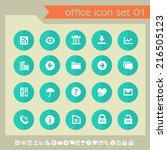office set 1 icons on green... | Shutterstock .eps vector #216505123