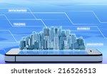 skyscraper office building on... | Shutterstock . vector #216526513