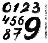 black handwritten numbers on... | Shutterstock .eps vector #216526723
