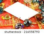 invitation card on christmas... | Shutterstock . vector #216558793