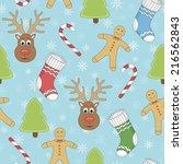 seamless vector christmas... | Shutterstock .eps vector #216562843