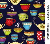 seamless tea pattern with... | Shutterstock . vector #216595537