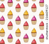 seamless pattern of cakes ... | Shutterstock .eps vector #216609127
