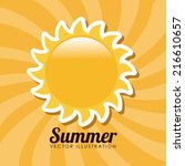 summer design over yellow... | Shutterstock .eps vector #216610657