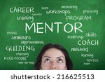 woman with mentor word cloud | Shutterstock . vector #216625513