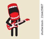 loud singing guitarist   huge... | Shutterstock .eps vector #216625807