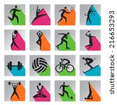 sport colorful web icons. set... | Shutterstock .eps vector #216653293
