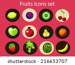fruits icons organic food... | Shutterstock .eps vector #216653707