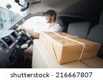 delivery driver driving van... | Shutterstock . vector #216667807