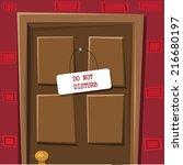 locked door with table do not... | Shutterstock .eps vector #216680197