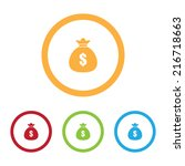 colorful money icons with rings