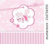 pink baby shower with bee | Shutterstock .eps vector #216726553