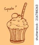 vintage illustration of cupcake.... | Shutterstock .eps vector #216788263