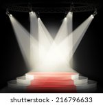 illuminated empty stage podium... | Shutterstock . vector #216796633