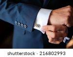 Hands Of Wedding Groom Getting...