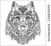 tribal ethnic wolf totem ... | Shutterstock . vector #216814543